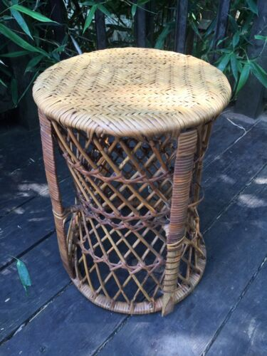 VTG Bamboo Rattan Drum Side/EndTable Plant Stand Foot Stool Seat