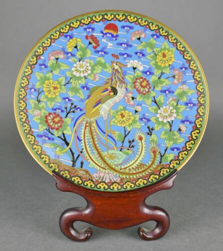 Fine Old Chinese Cloisonne Enamel Gold Gilt Phoenix Bird Plate & Wood Stand