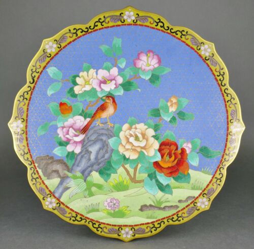 Fine Old Chinese Cloisonne Enamel Flowers and Bird Scalloped Edge Charger Plate