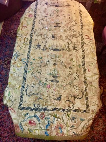 """Museum Deaccession Early 17th/18th Italian Silk Embroidered Wall Hanging 49""""x81"""""""