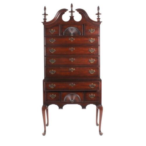 KINDEL MAHOGANY HIGHBOY CHEST ON CHEST Queen Anne style