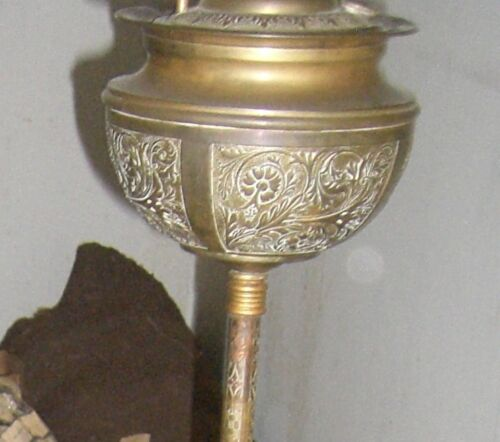 Antique Brass PARKER Piano lamp standing oil  Victorian 1800's