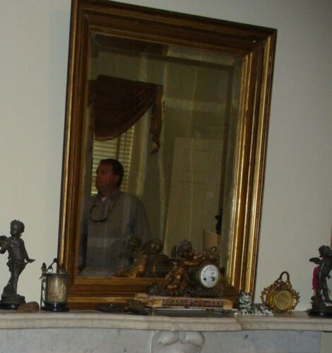 Antique Mirror   with gilt wood 19th century   large STACKED FRAME