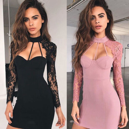 Evening Party Cocktail Short Mini Dress Women Casual Bodycon Sleeveless Lace