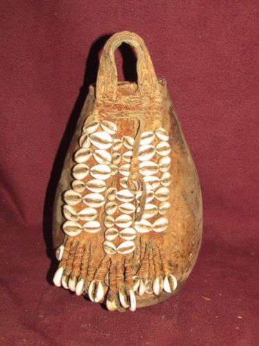 Antique Ethnic  Tribal Pouch Leather Seashell African Oceanic  Indian ??