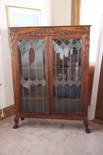 Antique Oak Curio Cabinet Bookshelf Glass Doors