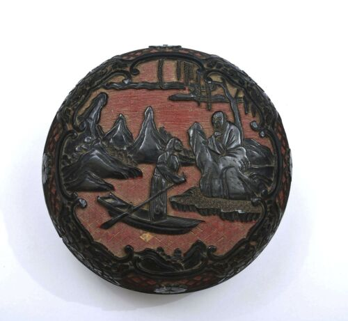 19C Chinese 2 Tone Cinnabar Lacquer Carved Carving Box Scholar Figure Figurine