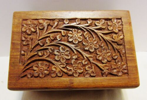 "Hand Carved Wooden Box  3.5"" x 6"" x 2"" Rosewood"