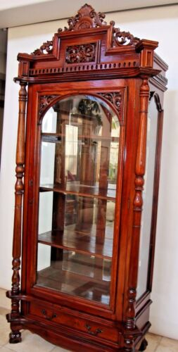 Antique French China Display cabinet mahogany Beveled Glass door sides Mirror