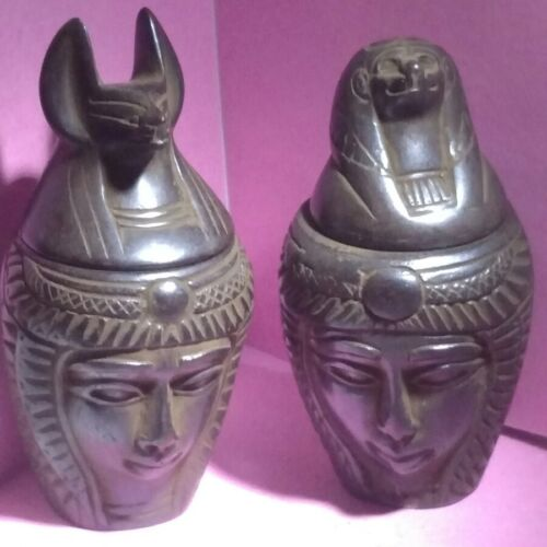 Egyptian Antique, Anubis & tefnut, Lot of 2 Egyptian Canopic Jars ,