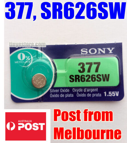 1x SONY 377, SR626SW 1.55V Silver Oxide EXP 09/2022 - JAPAN MADE - Post from MEL