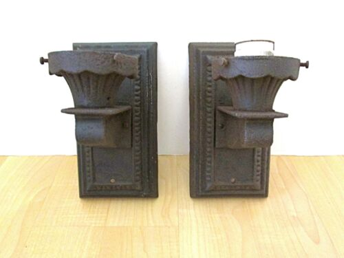 PAIR Antique Cast Iron Electric Steampunk Gothic Victorian Candle Wall Sconces