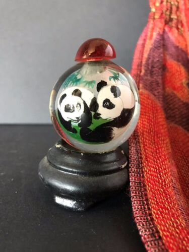 Old Chinese Glass Panda Snuff Bottle …beautifully painted on the inside
