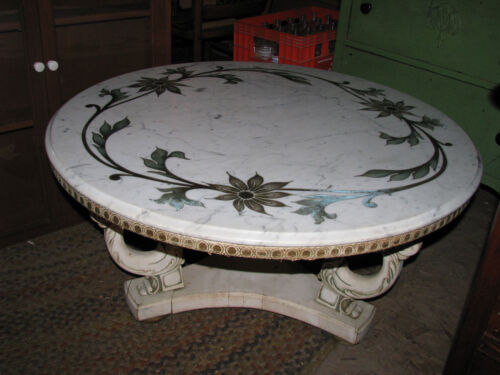 Vintage Italian White Marble Top Coffee Table W/Brass Inlaid Flower Pattern