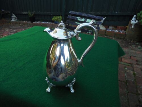 ANTIQUE ENGLISH SILVER PLATE HOT WATER JUG J DIXON & SONS c1920