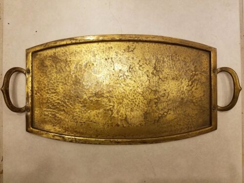 Antique Vtg Hand Wrought Brass Tray Plate Wall Hanging