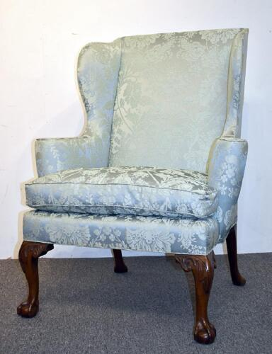 KITTINGER Williamsburg Mahogany Chippendale Wing Chair Claw and Ball Feet CW104