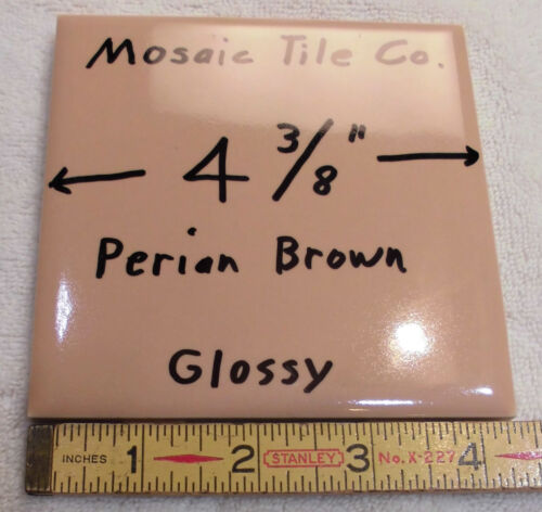 6 Light Brown tiles made by Mosaic Tile Co.…NOS…4-3/8 inches...