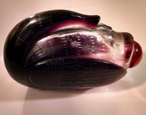 Purple Amethyst Snuff Bottle Large Hand Carved Figural Resting Goose Chinese Art