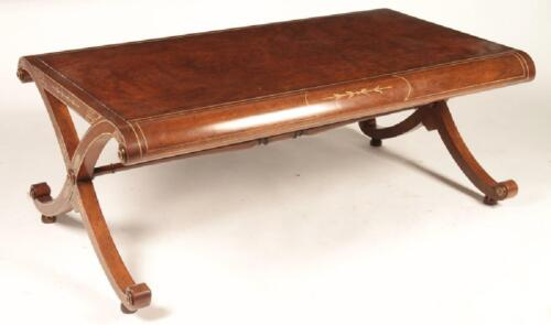 Baker Stately Homes Robert Adams Walnut Low X Base Cocktail Coffee Table