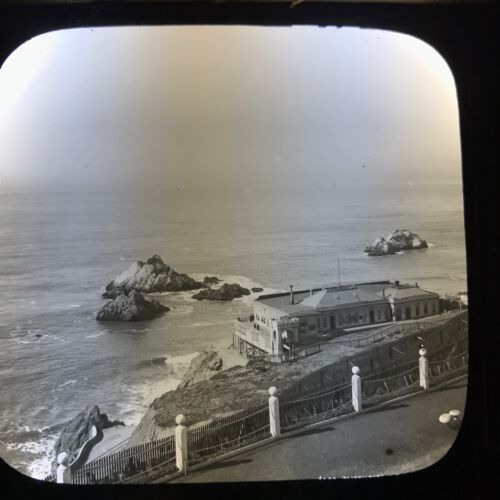 Antique Magic Lantern Glass Slide Photo The Cliff House Seal Rocks San Francisco