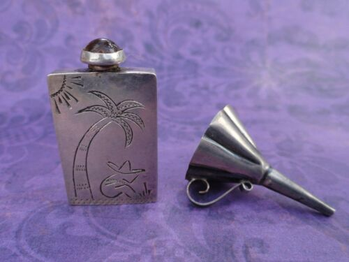 Vintage Mexico 925 Sterling Silver Perfume Bottle Man Sombrero Palm Tree Funnel