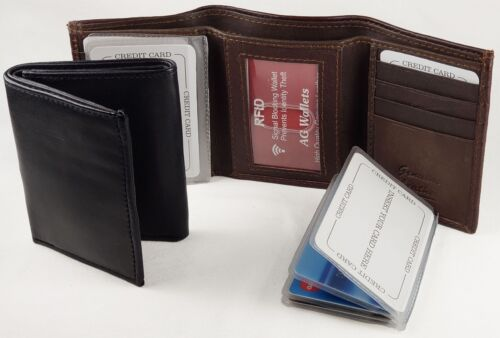 RFID Mens Trifold Wallet - Scan Proof, Wallet Insert, Multi Card Holder, Leather