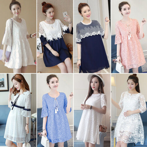 New Korean Sweet Lace Pregnant  Women Summer Short Sleeve Loose Maternity Dress