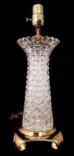 Lg ABP Brilliant Cut Glass Crystal VASE Table Accent Lamp Block Pattern Brass