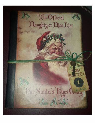 Primitive Hand Crafted Journal - Tuck - Santa Claus Naughty or Nice List St Nick