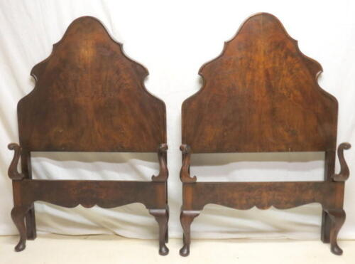 Pair Antique French Walnut Twin Beds Head & Foot Boards & Wood Rails Queen Anne