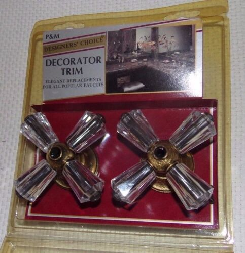 Vtg NOS Replacement Faucet Knobs X Cross 4 Arm Prong Clear Acrylic Crystal