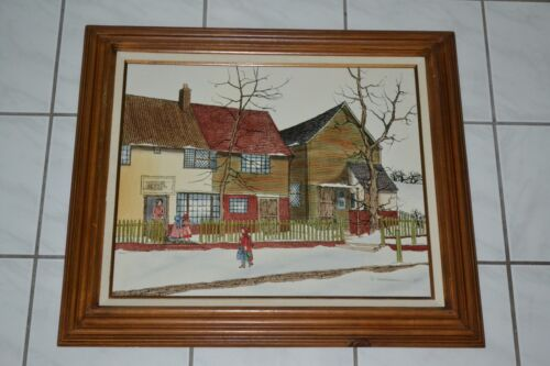 H. Hargrove Framed Oil Painting on Canvas of Early Winter School Scene Serigraph