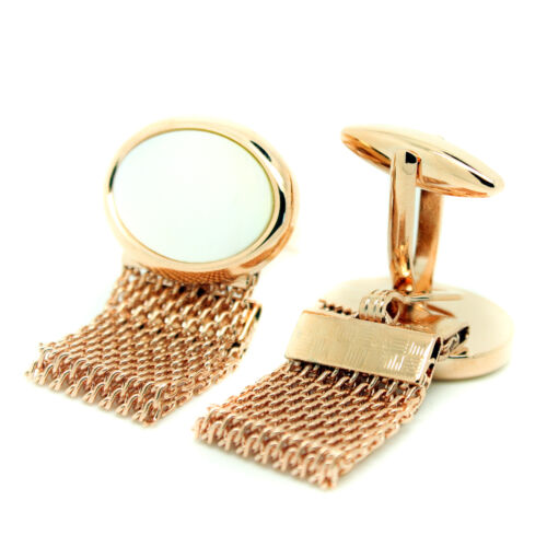 Rose Gold Mother of Pearl Wrap Around Chain Cufflinks