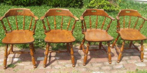 4 Ethan Allen Mate's Dining Chairs Maple 10-6101 Heirloom Collection arm seating