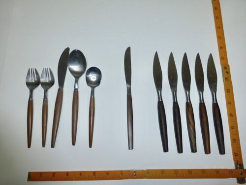 Lot Of Mid Century Danish Modern Wood Handles Stainless Flatware MIXED STYLES