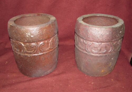 Pair Arts and Crafts Sewer Pipe Tile Pottery Planters