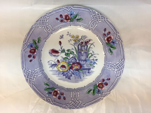 ANTIQUE IRONSTONE TRANSFERWARE INDIAN PATTERN PURPLE FLORAL PLATE 10.5