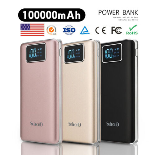 Ultrathin 100000mAh Portable Power Bank LCD External Backup Battery Charger Pack