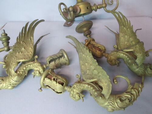 Vintage Antique Early Bronze Dragon Sconce High Quality For Restoration