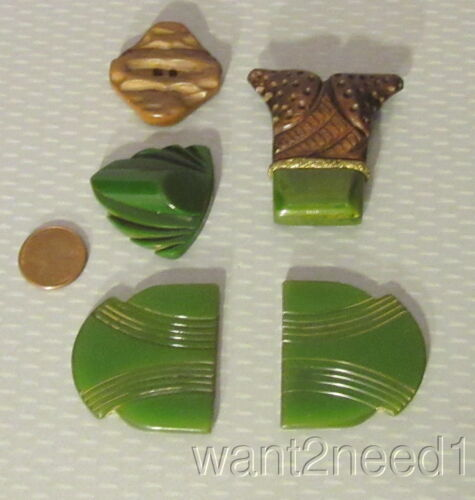 20s vtg deco carved GREEN BAKELITE 5p lot clip button buckle TOPS WITH NO BACKS
