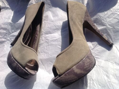 Brushed Suede/Animal print open toe shoes - size 6