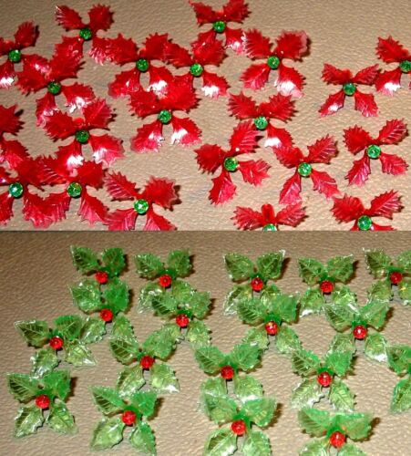 25 RARE Holly Poinsettia Light Bulbs for Ceramic Christmas Tree Red Green Mixed