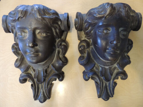 Fabulous Pair Antique Figural  Corbels  Fireplace Mantle Wall Shelf Brace