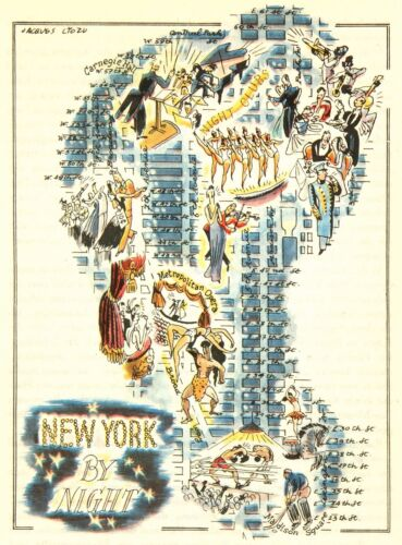 New York City by Night NYC Vintage Pictorial Map   (Small/Postcard size)