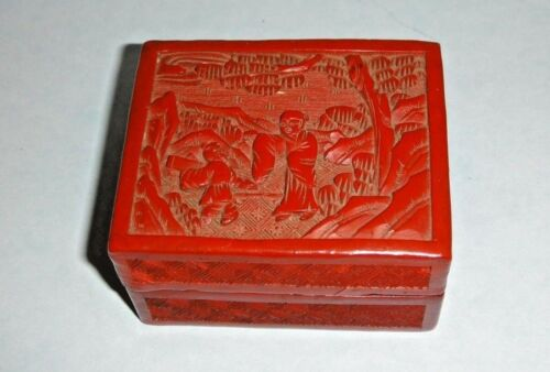 Antique Chinese Carved Red Lacquer Cinnabar Box Case And Lid - China