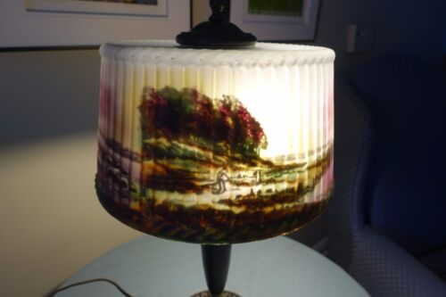 Antique Rare Pittsburgh Reverse Painted Lamp