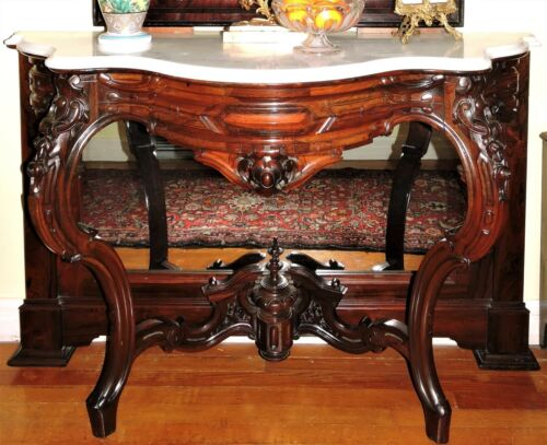 "Marble top Pier Table, Console, rosewood, Meeks, NYC, Rococo, 51""w, c1860"