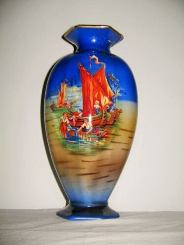 Six Sided Vase Children Playing in Boats Circa 1940 Deep Blue Gold Rim