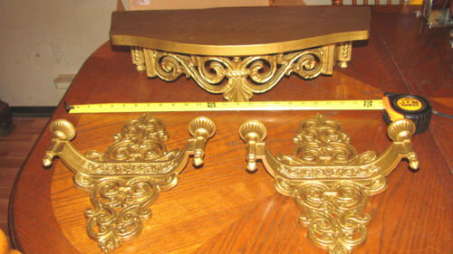 Vintage1969 Syroco Gold Double Sconces With Shelf # 4070 #3027  USA